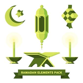Flaches ramadan & eid mubarak elements pack