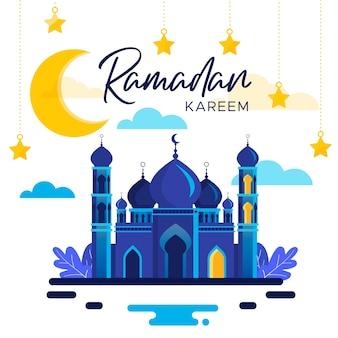 Flaches ramadan-hintergrundkonzept