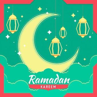 Flaches ramadan-konzept