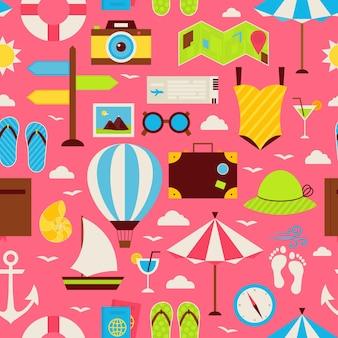 Flaches reise-resort-ferien-nahtloses muster. reise-flaches design-vektor-illustration. fliesen-hintergrund. sammlung von sommerferien und bunten strandobjekten.