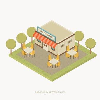 Flaches restaurant mit terrasse