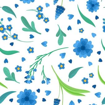 Flaches retro nahtloses muster der blauen blumenblüten. abstrakte wildblumen auf weißem hintergrund. dekorativer hintergrund von gänseblümchen und kornblume. blühende wiesenwildblumen. vintage textil, stoff, w