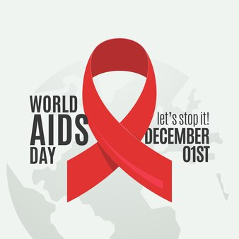 Flaches rotes band-symbol für aids-tag