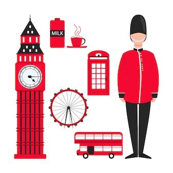 Flaches rotes london für dekorationsdesign