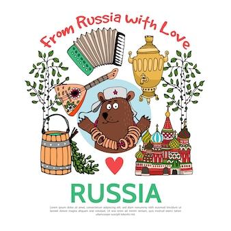 Flaches russland-reisekonzept