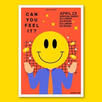 Flaches säure-emoji-plakat