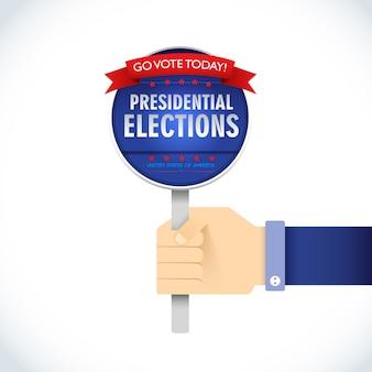 Flaches schild der amerikanischen präsidentschaftswahl