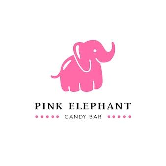 Flaches schokoriegel-emblem mit niedlichem rosa elefanten.