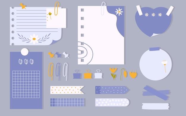 Flaches schreibwarenset planer notizbuch seite notizblatt aufkleber und klebeband push pin büroklammer to do liste mit gezeichneter blumenvorlagenkarte ideal für druckbare kinderorganisator-vektorillustration