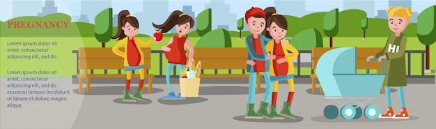 Flaches schwangerschaftsbanner mit schwangeren frauen, die über gesunden lebensstil und treffen zukünftiger eltern mit frau sprechen, die kinderwagen im park schiebt