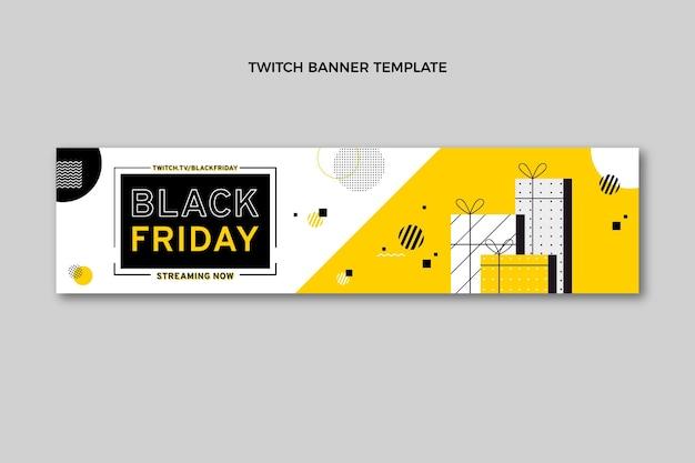 Flaches schwarzes freitags-twitch-banner