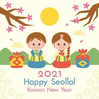Flaches seollales koreanisches neujahr
