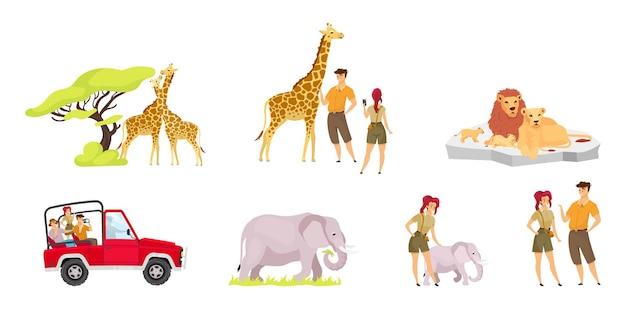 Flaches set der afrikanischen expedition. paar giraffen in der nähe von baum. touristengruppe im auto.