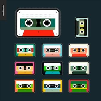 Flaches set mit kassettenbändern