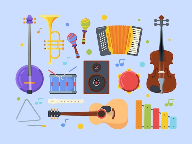 Flaches set moderner ethnischer musikinstrumente. violine, banjo, akustikgitarre. tamburin, flöte, xylophon. verschiedene volksmusikausrüstung sammlung