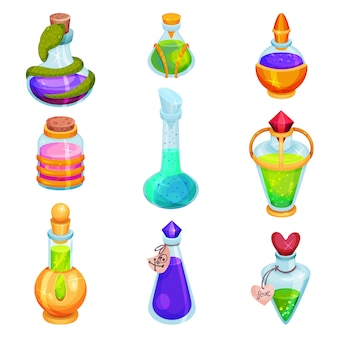 Flaches set verschiedener kleiner flaschen mit tränken. glasfläschchen mit bunten flüssigkeiten. magische elixiere. spielesymbole