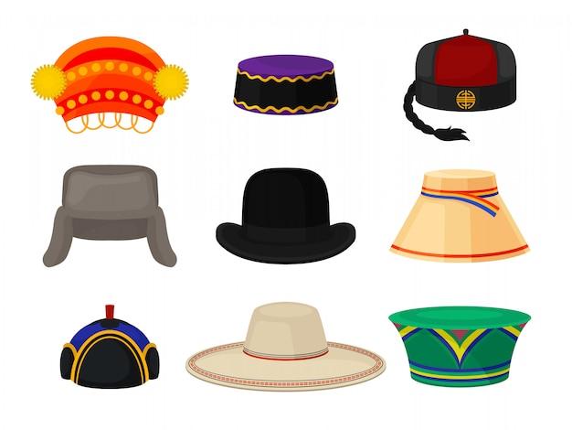 Flaches set verschiedener nationaler kopfbedeckungen. kopfschmuck für männer und frauen. modethema