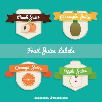 Flaches set von fruchtsaft etiketten mit bändern