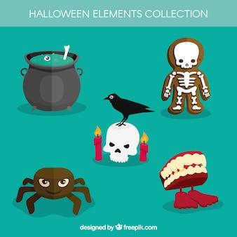 Flaches set von halloween-elementen
