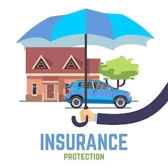 Flaches sicheres konzept des versicherungsvektors mit der hand, die regenschirm über haus und auto hält