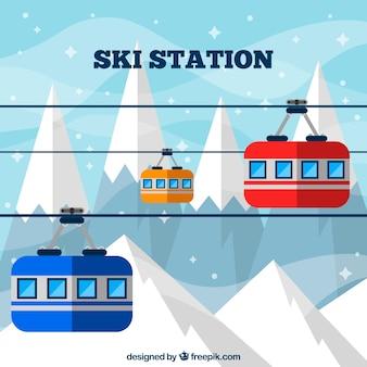 Flaches skigebiet design