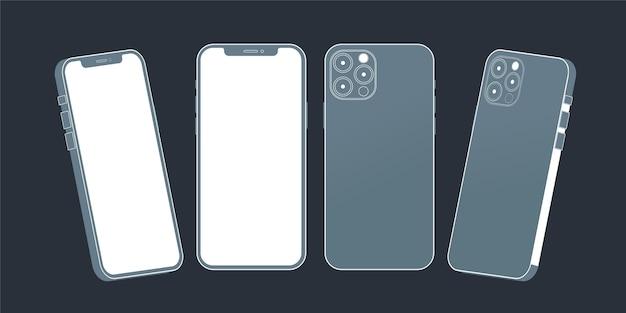Flaches smartphone aus verschiedenen perspektiven