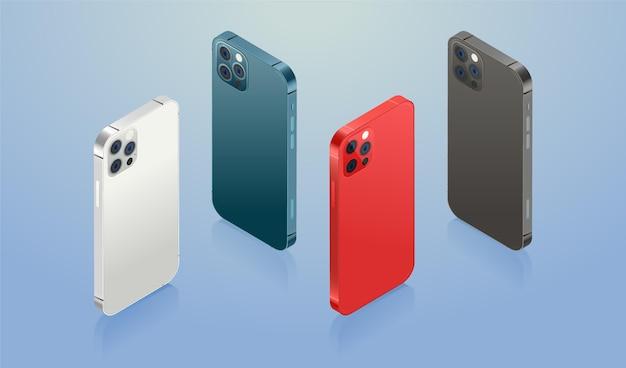 Flaches smartphone in offiziellen farben