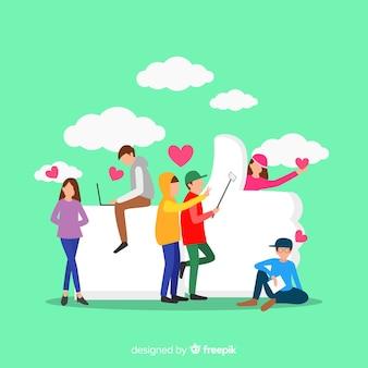 Flaches social media der jungen leute mögen konzepthintergrund