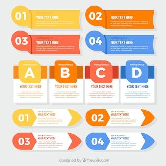 Flaches sortiment von großen infografischen gegenständen