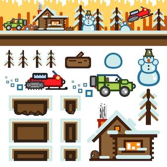 Flaches spiel-level-kit für den winter