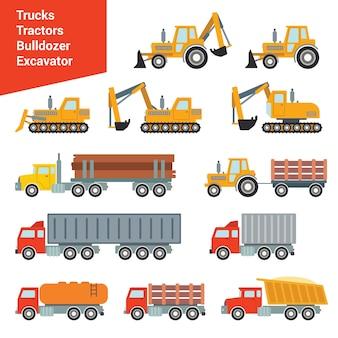 Flaches stadtbau-transportset. bagger kran grader beton zementmischer roller pit muldenkipper lader abschleppwagen. bauen sie ihre eigene weltsammlung auf.
