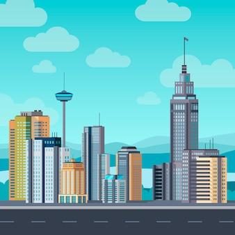 Flaches stadtbild. wolkenkratzer moderne gebäude stadtbürozentrum, apartmenthaus hotel wohnblock außen urban