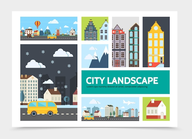 Flaches stadtlandschaftsinfografikkonzept mit verschiedenen stadtlandschaftsgebäudengebirgsbusvorortflugzeughimmel