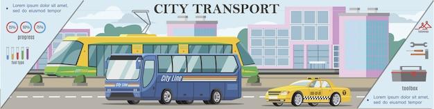 Flaches städtisches transportbuntes banner mit straßenbahnbus und taxiauto, die auf straße bewegen