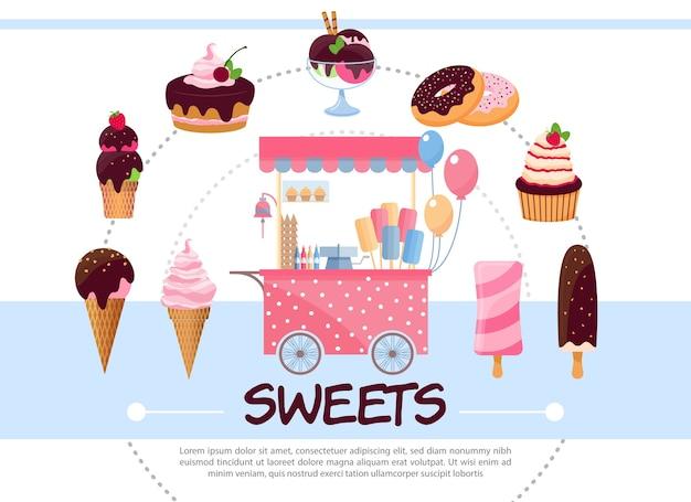 Flaches süßigkeiten rundes konzept