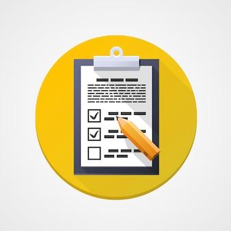 Flaches symbol der umfrage, pad-dokumentenstift. gestaltungselement