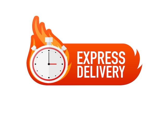 Flaches symbol mit express-schnelllieferung für banner-design kurierdienst lebensmittel-lieferservice