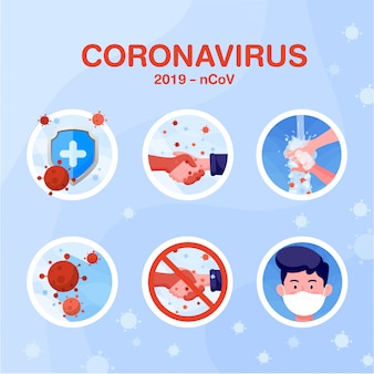 Flaches symbol über den flachen stil des coronavirus. illustrationsdesignkonzept von gesundheitswesen und medizin. weltkonzept für corona-viren und covid-19-ausbrüche und pandemie-angriffe.