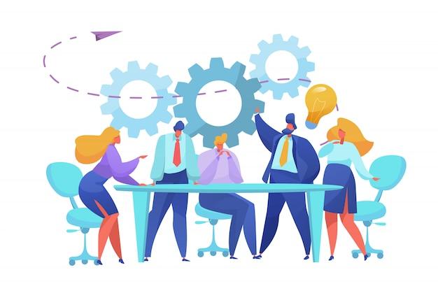 Flaches team-brainstorming, diskussionskonzept mit männlichen und weiblichen managern am tisch. firmenleute in anzügen, die hart streiten, auf eine idee kommen, mit einem glühbirnen-eureca-schild. teambuilding, entscheidungsfindung
