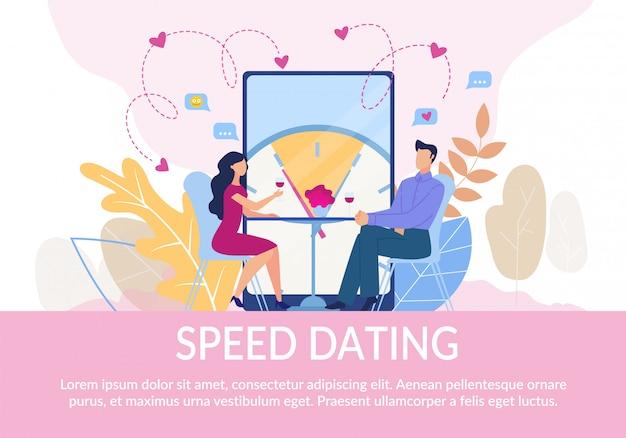 Flaches text-plakat, das paare auf geschwindigkeits-datierung einlädt