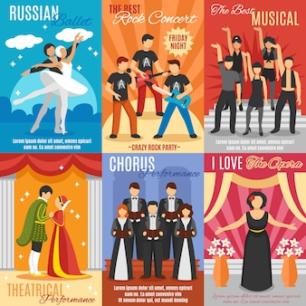 Flaches theater poster set