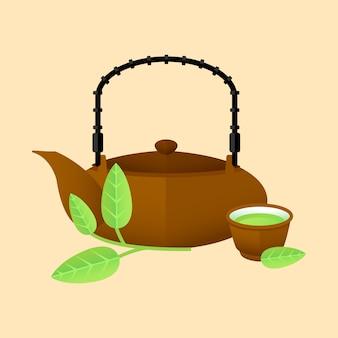 Flaches traditionelles grünes tee-konzept