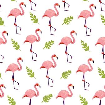 Flaches tropisches nahtloses muster des vektors mit hand gezeichneten dschungelmonstera pflanzt flamingovögel, die auf weißem hintergrund lokalisiert werden. gut für verpackungspapier, karten, tapeten, geschenkanhänger, kinderzimmerdekoration usw.