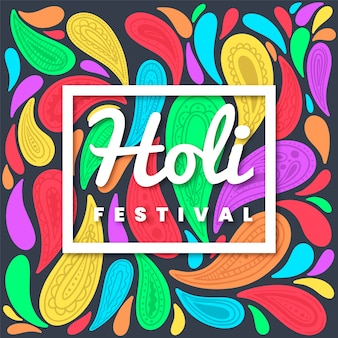 Flaches und buntes art holi festival