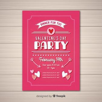 Flaches valentinsgrußparteiplakat