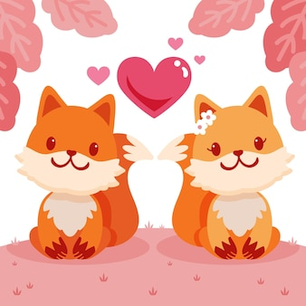 Flaches valentinstagstierpaar