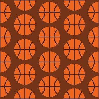 Flaches vektor-nahtloses sport- und aktivitäts-basketball-muster. flache art-nahtloser beschaffenheits-hintergrund. vorlage für sport und spielspiele. gesunder lebensstil. erholung und ball