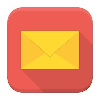 Flaches vektor-quadrat-app-symbol. umschlag-app-symbol mit langem schatten