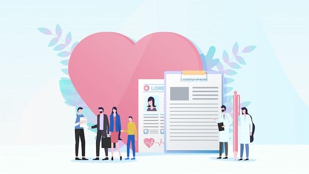 Flaches vektorkonzept der familienkrankenversicherung
