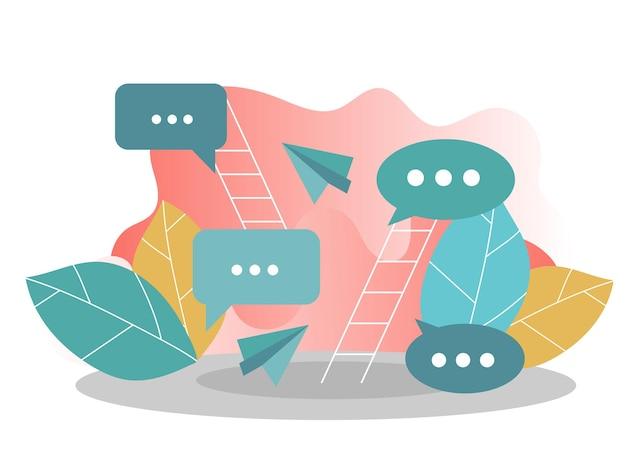 Flaches vektorkonzept des social media-netzwerks, digitale kommunikation, chatten. kreative vektorillustration für banner, poster, website in modernen farben